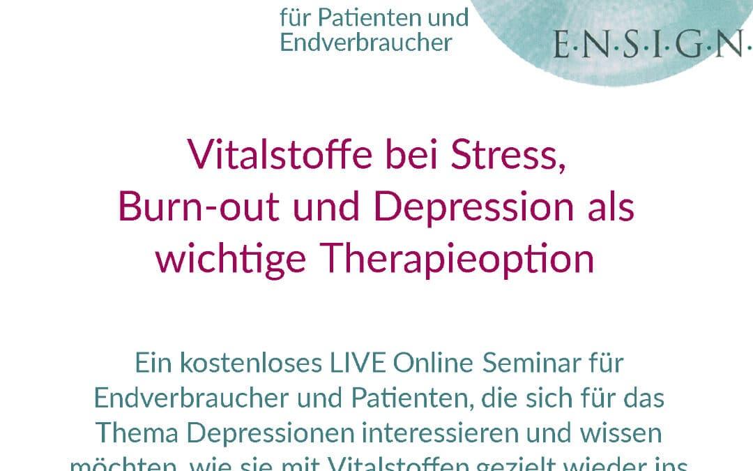 kostenloses LIVE Online Seminar für Endverbraucher – Thema: Depressionen