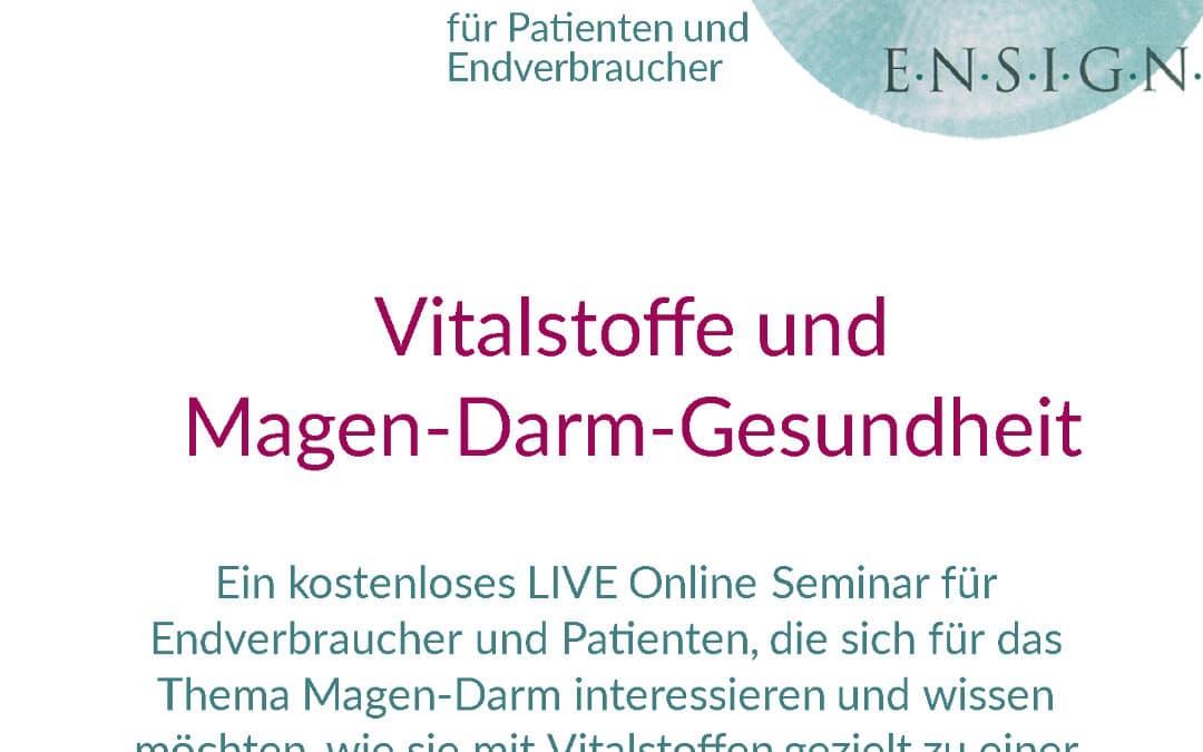 kostenloses LIVE Online Seminar für Endverbraucher – Thema: Vitalstoffe und Magen-Darm-Gesundheit